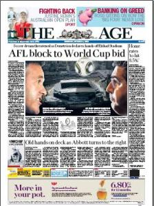 Front Page of The Age 9/12/09