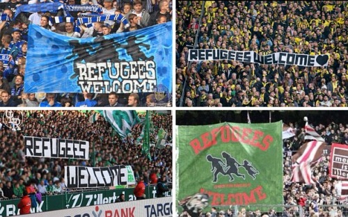 German football fans at Bundesliga matches