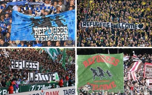 German football fans at Bundesliga matches
