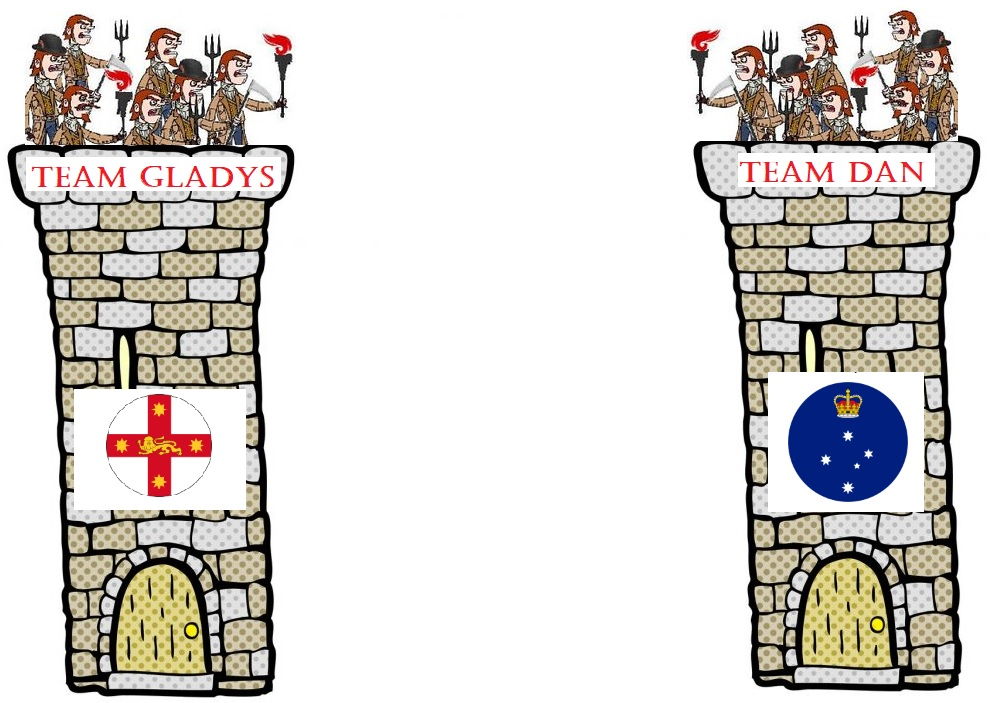 Cartoon of two towers one with 'team Gladys' and the NSW logo on it, and the other with 'team Dan' and the logo of Victoria